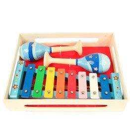 Muziekset pastel blauw sambaballen en xylofoon
