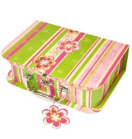 Koffertje groen met bloemen en strepen