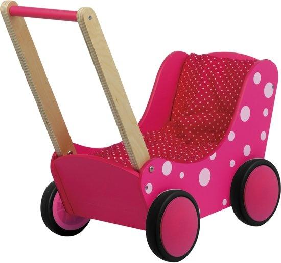Simply for Kids Poppenwagen roze met witte stippen