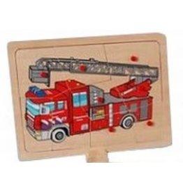 Knopjes puzzel ladderwagen brandweer