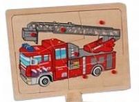 Knopjes puzzel ladderwagen brandweer 9 stukjes