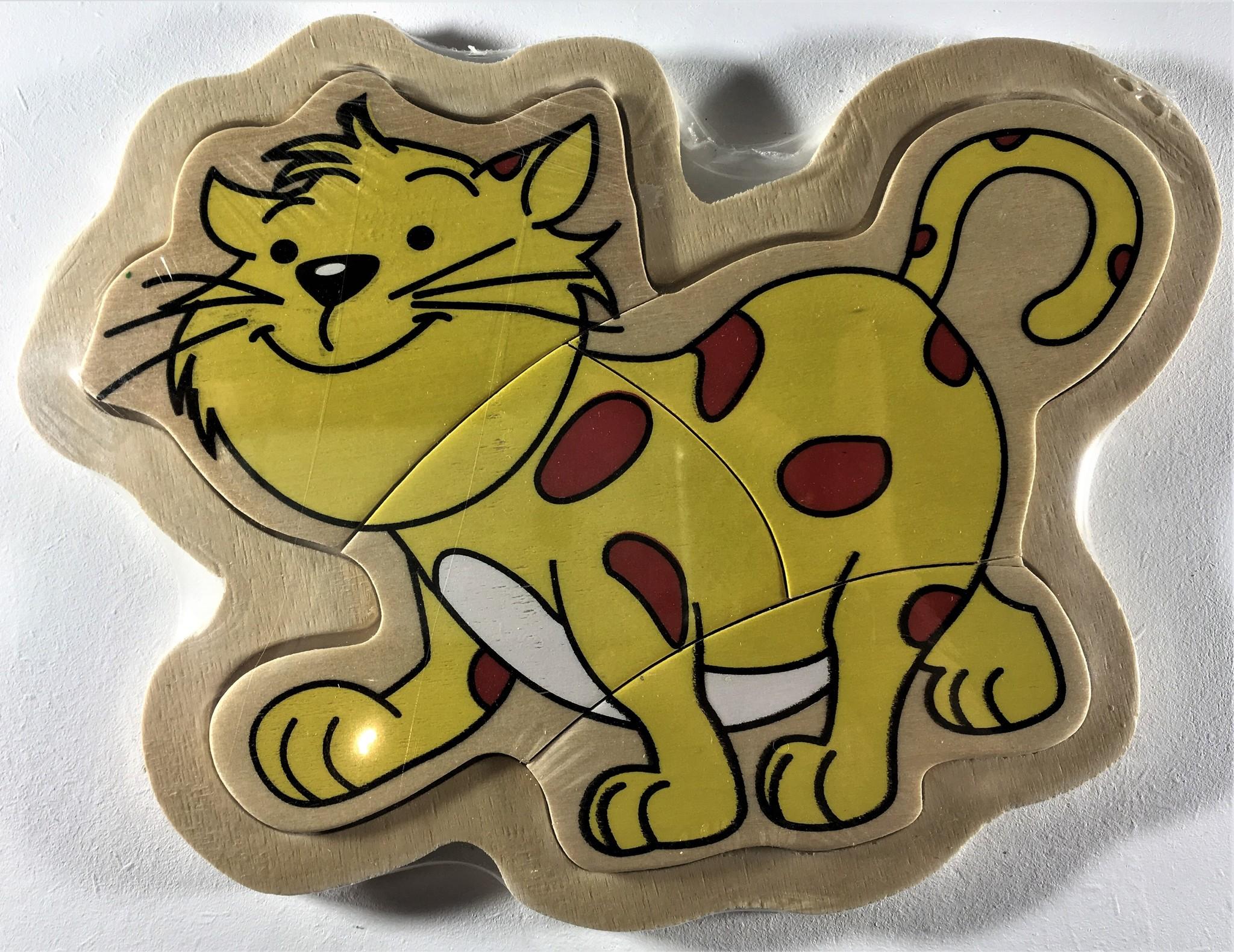 Legpuzzel klein gestipte kat 4 stukjes