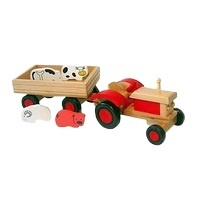 Tractor met aanhanger rood groot inclusief dieren