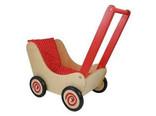 Simply for Kids Blank houten poppenwagen met rode handvat