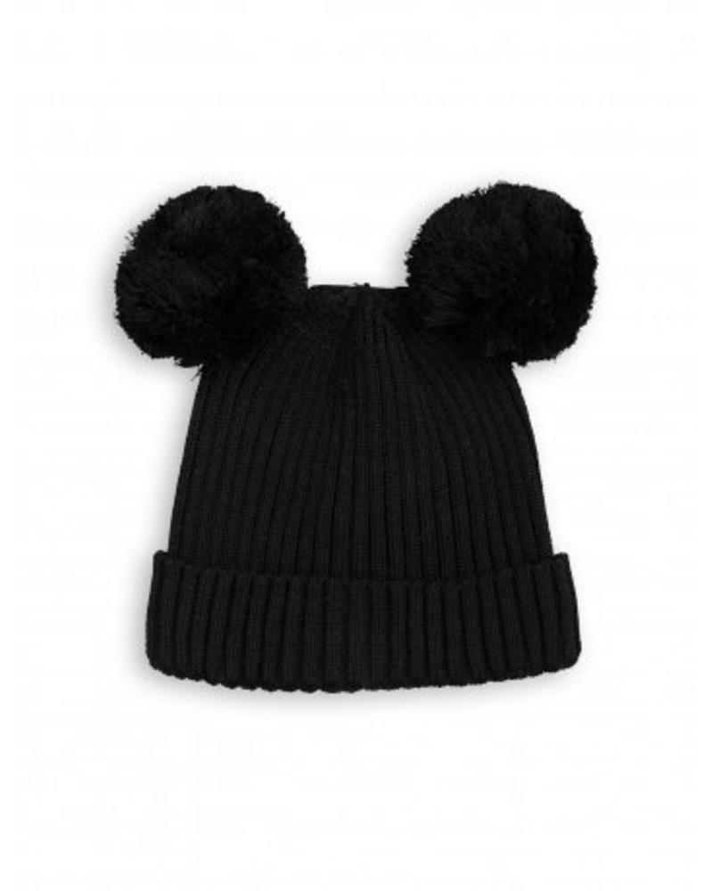 eb4c94519de Ear Hat - Black. Black rib knitted hat in organic cotton with two pom-pom  ...
