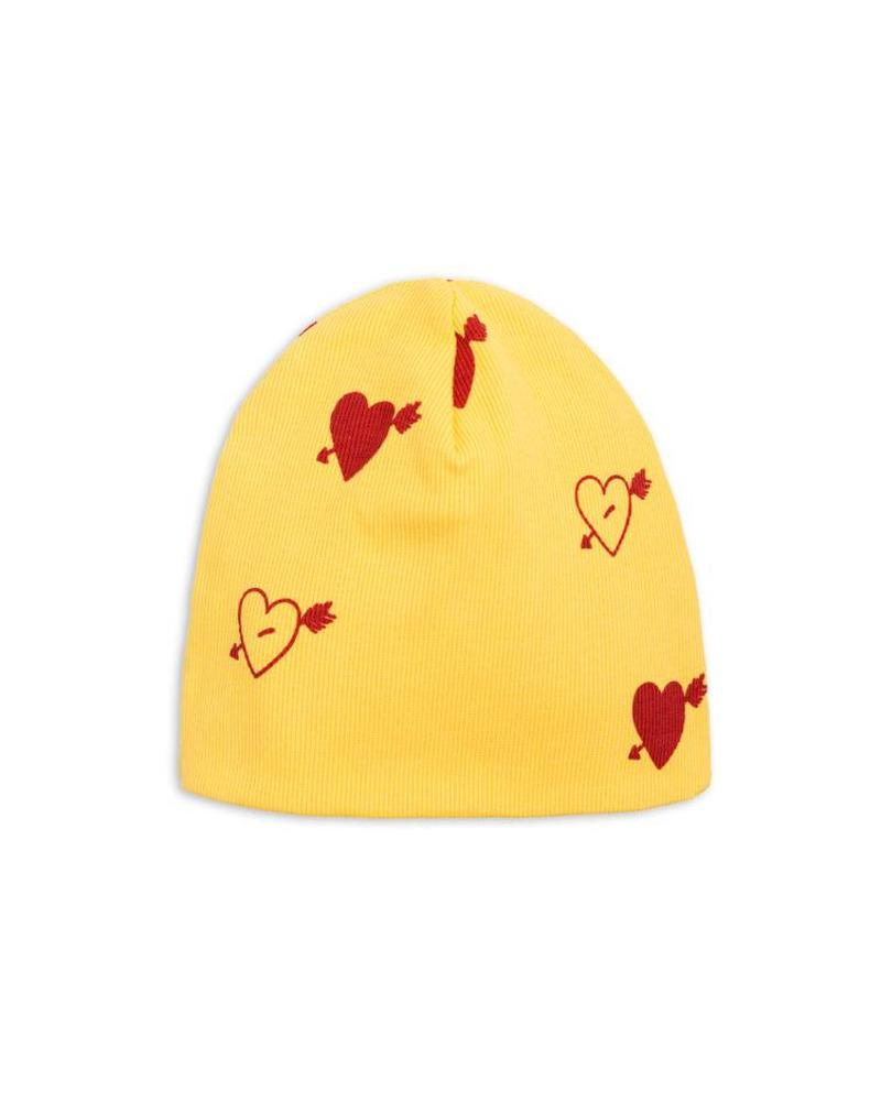 Mini Rodini Heart rib beanie - yellow