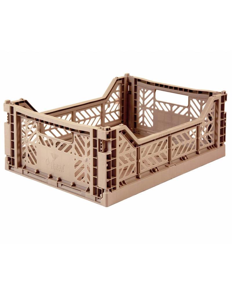 Ay-kasa Folding Crate - warm taupe