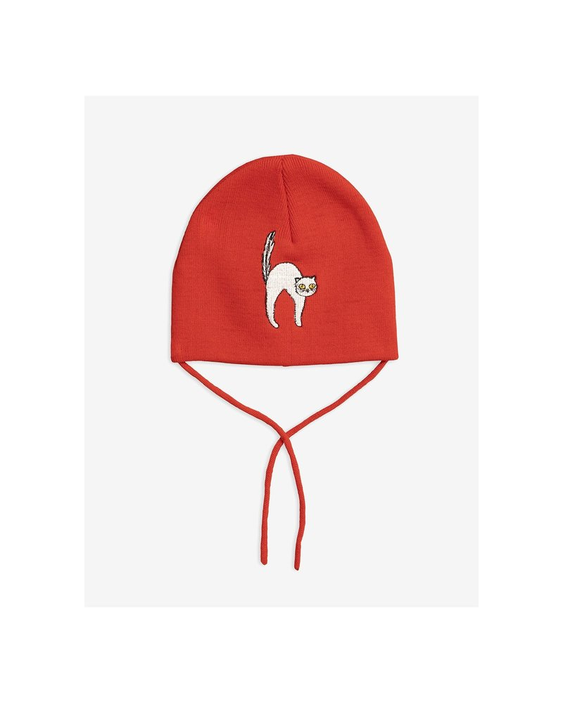 Mini Rodini Angry cat patch hat - Red