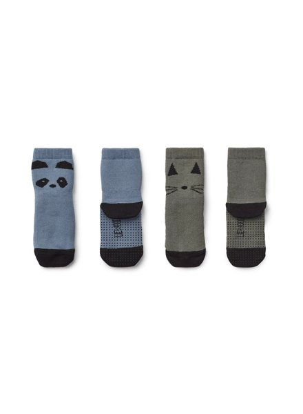 Liewood Nellie Anti Slip Socks - Panda blue wave