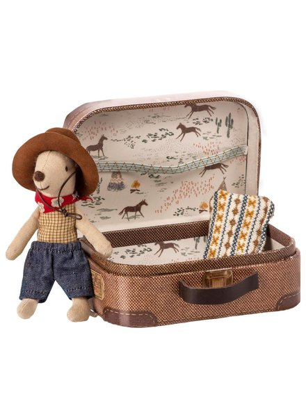 Maileg Cowboy in suitcase - Little brother mouse