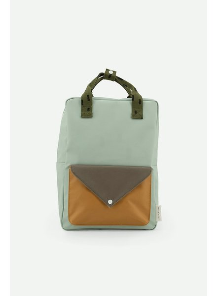 Sticky Lemon Backpack Large sprinkles envelope - sage green/ moss green/ panache gold