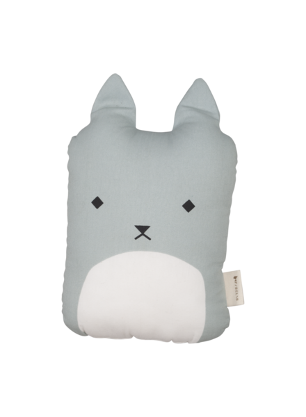Fabelab Animal Cushion - Cuddle Cat - foggy blue