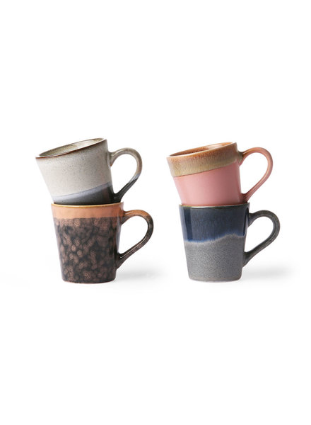 HK Living Ceramic 70's Espresso Tassen 4er Set