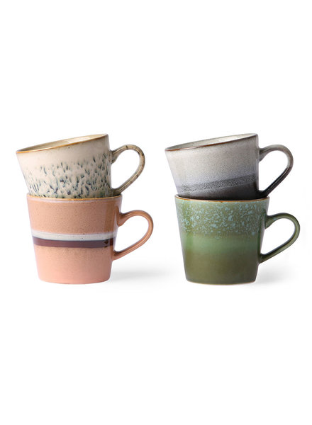 HK Living Ceramic 70's Cappuccino Tassen 4er Set