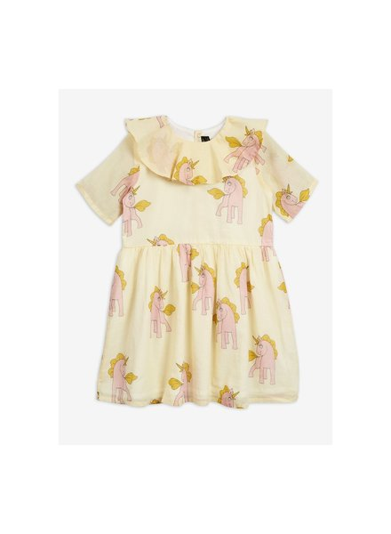 Mini Rodini Unicorns ss woven dress - yellow