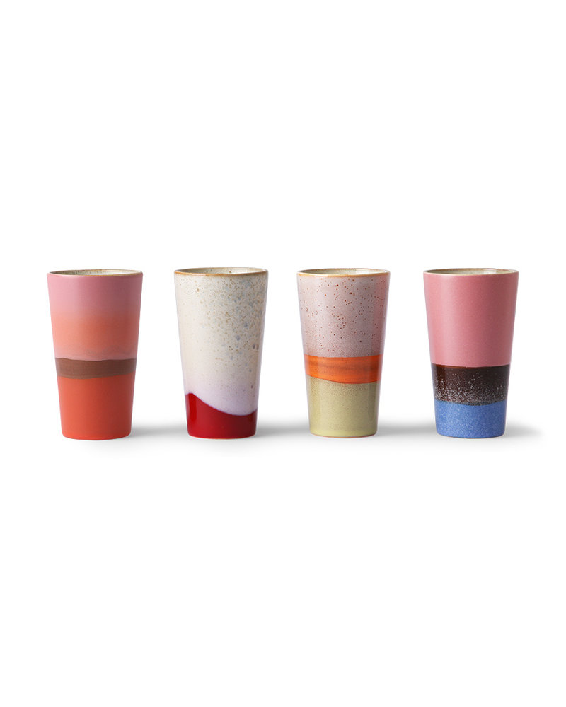 HK Living Ceramic 70's latte mugs set of 4