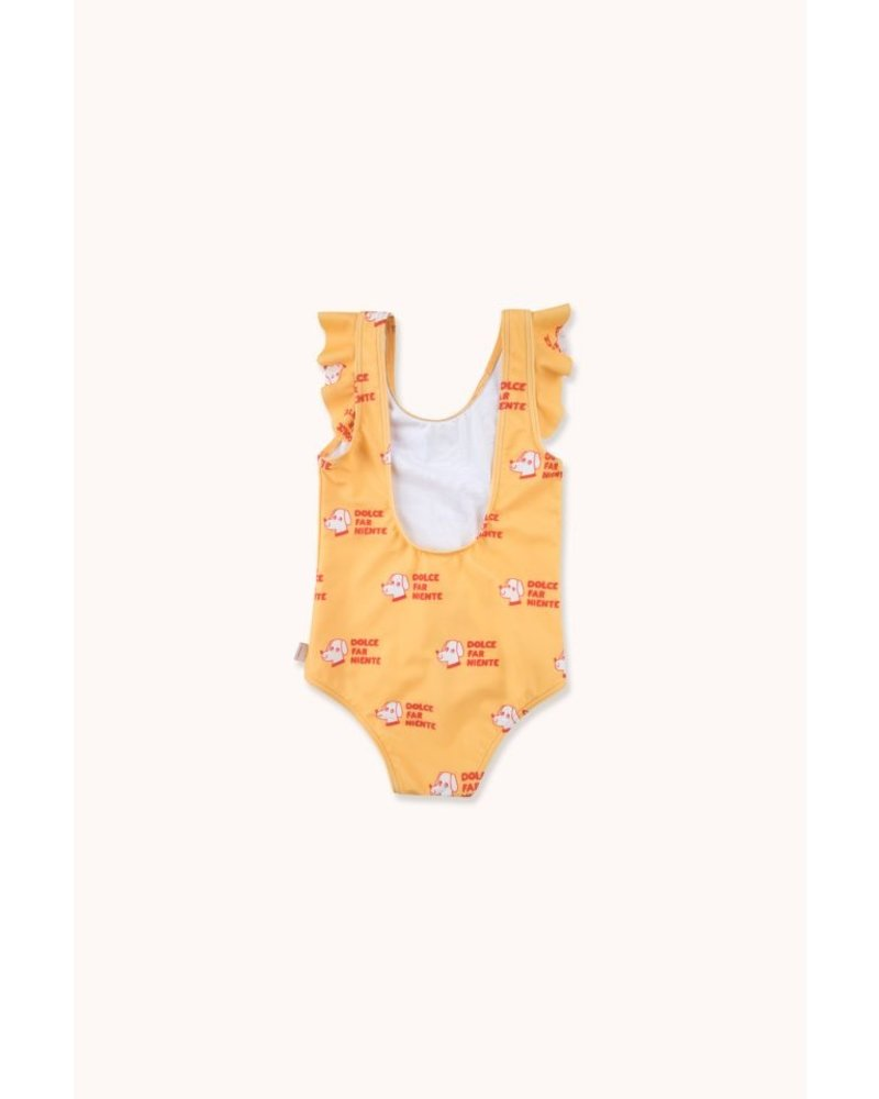 Tiny Cottons DOGS FRILLS SWIMSUIT yellow/red