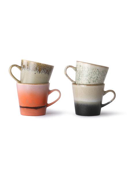 HK Living Ceramic 70's Americano Tassen 4er Set