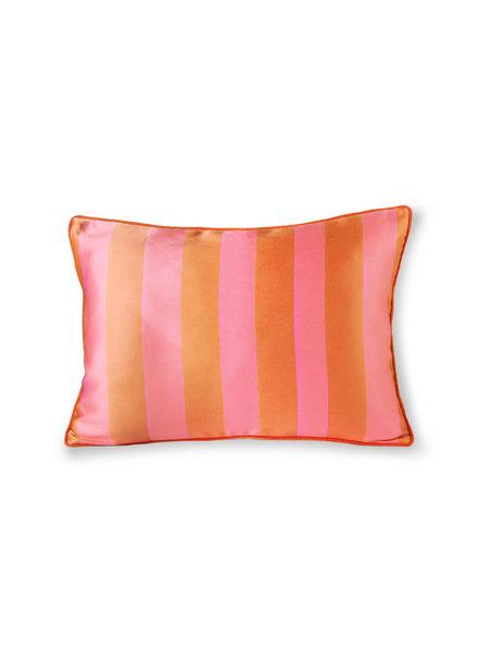 HK Living Samtkissen gestreift - orange/pink