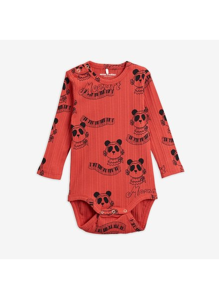Mini Rodini Mozart aop ls body - red