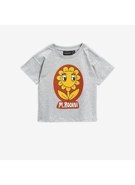 Mini Rodini FLOWER SP T-SHIRT - Grey Melange