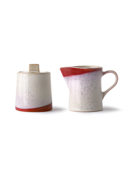 HK Living Ceramic 70's milk jug & sugar pot - frost