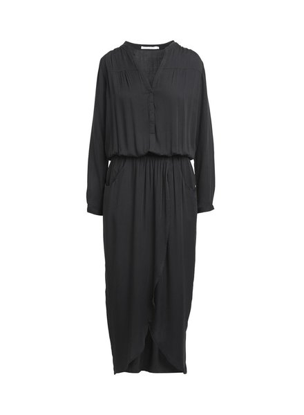 Rabens Saloner VERA Solid wrap over dress - black