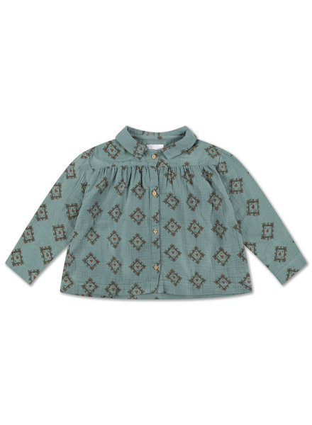 Repose AMS COLLAR BLOUSE  - tiles heart all over