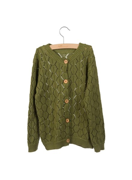 Little Hedonist Knitted Cardigan Effie - Green Moss