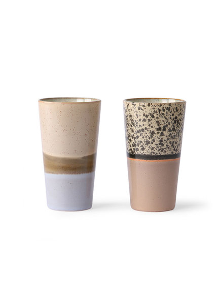 HK Living Ceramic 70's Latte Tassen 2er Set
