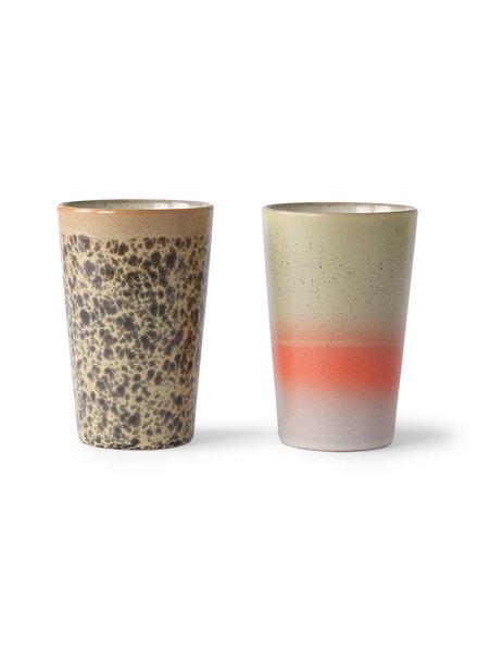 HK Living Ceramic 70's tea mugs set of 2