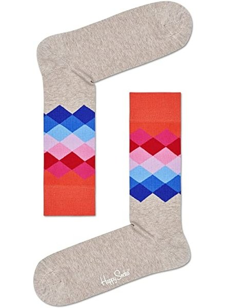 Happy Socks Faded Diamond Sock - beige