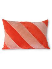 HK Living Striped velvet cushion red/pink