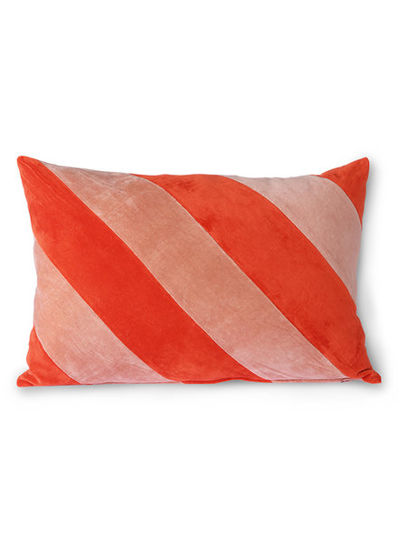HK Living Striped velvet cushion red/pink