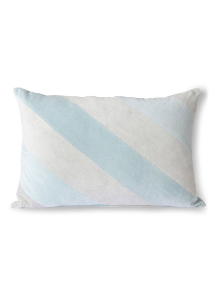 HK Living Striped velvet cushion ice/blue