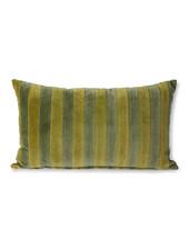 HK Living Striped velvet cushion green/camo