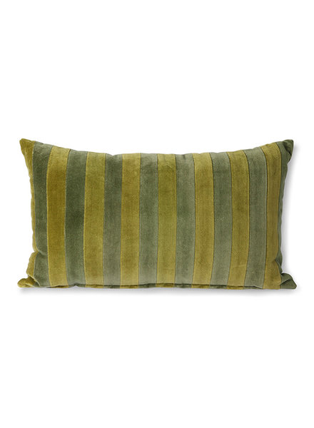 HK Living Striped velvet cushion green/camo