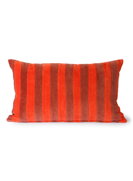 HK Living Striped velvet cushion red/bordeaux