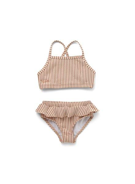 Liewood Norma Bikini Set Seersucker - Tuscany rose/sandy