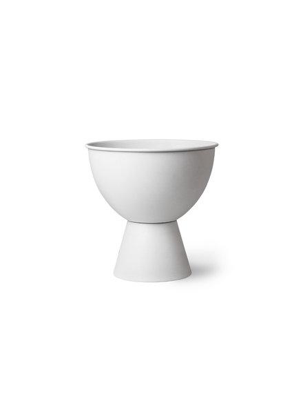 HK Living Metal flower pot on base rustic white - M