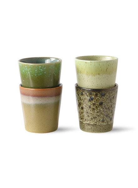 HK Living Ceramic 70's coffee mugs - Set of 4 - spring greens