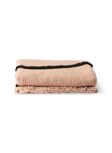 HK Living Soft woven throw  - nude with black tufted lines