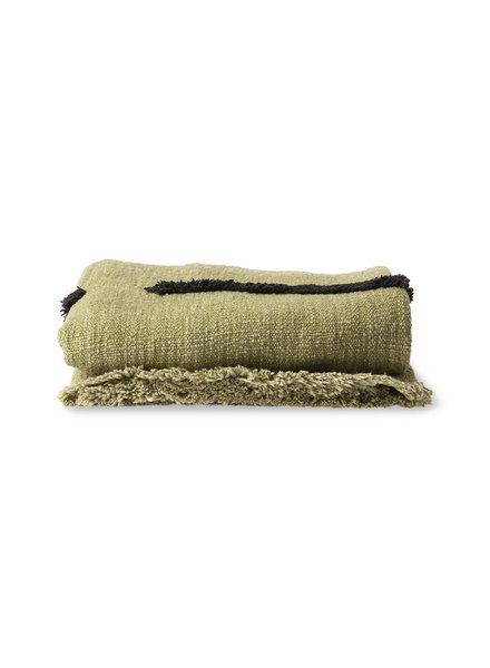 HK Living Soft woven throw  - pistachio with black tufted lines
