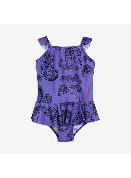 Mini Rodini Tiger skirt swimsuit purple