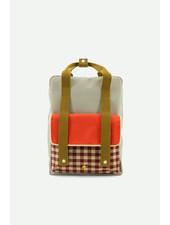 Sticky Lemon Large backpack | gingham pool green + apple red + leaf green