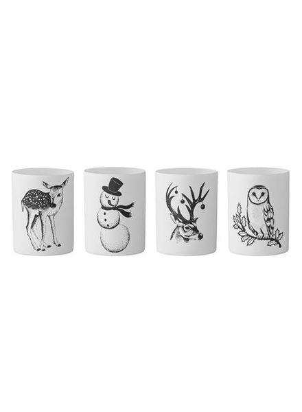 Bloomingville Votives - Matte White/ Black Animal