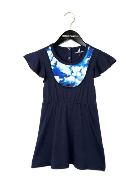 Mini Rodini Clouds AOP Bib Dress - Dark Blue
