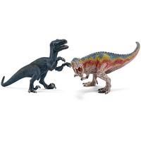 Schleich Tyrannosaurus en velociraptor klein 42216 - Speelfiguur - Dinosaurs -  19 x 16,5 x 17,2 cm