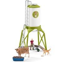 Schleich Voedersilo met dieren 41429 - Speelfigurenset - Farm World - 19 x 39,5 x 19,5 cm