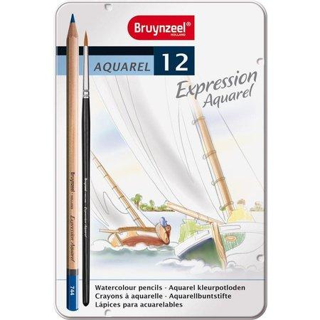 Bruynzeel Aquarelpotloden in blik Expression: 12 stuks